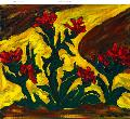 Red Flowers in a Golden Stream